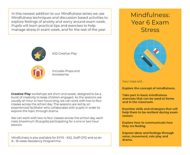 Exam Stress Mindfulness workshop One Day Creative