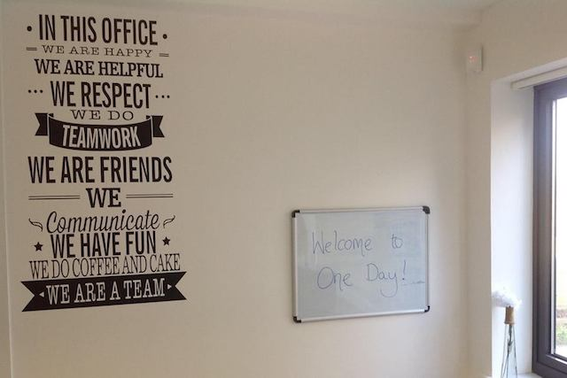 One Day office team wall