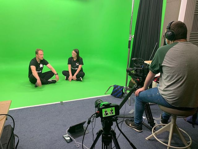 Primary school video workshops in action: Carly and Clem in front of the camera